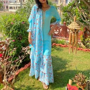 Simple Sky blue floral  sharara and top with short dupatta(discounted shipping)